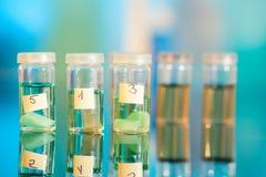 Samples in plastic vials Stock Image