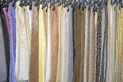 Samples of the plush fabric in shop Royalty Free Stock Photo