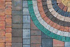 Samples of rectangular pavement tiles. Urban background. Samples of rectangular pavement tiles of red, orange, gray, green Stock Photography