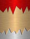 Samples of red, silver and yelloy metal. Royalty Free Stock Image