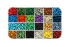 Samples of rubber granules Royalty Free Stock Photos
