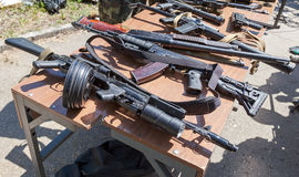 Samples of Russian small arms Stock Image
