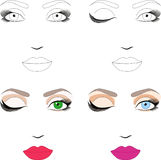 Samples of scheme for makeup with examples Royalty Free Stock Photo