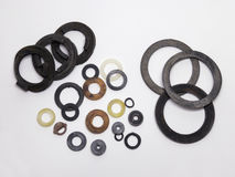Samples of seal gaskets. Samples of the seal gaskets for plumbing Royalty Free Stock Photography