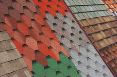 Samples of shingles roof Stock Photos