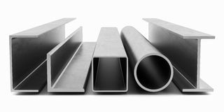 Samples of steel beams and pipes on white background Royalty Free Stock Photos