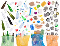 Samples of trash that can be recycled Royalty Free Stock Images