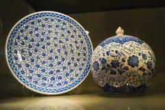 Samples of Turkish pottery in Kutahya. Stock Image