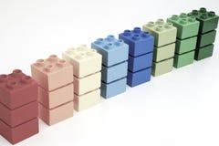 Samples of vintage coloured Lego Duplo bricks. Concept stock photos