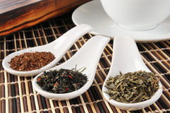 Samples of whole leaf teas Royalty Free Stock Photos
