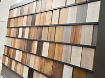 Samples of wooden laminate panels in store. Samples of wooden laminate panels in the building store Stock Photo