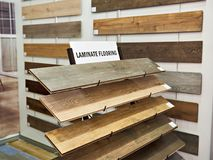 Samples of wooden laminate panels in store. Samples of wooden laminate panels in the building store Royalty Free Stock Photos