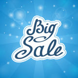 Samples in words Big Sale on blue background Royalty Free Stock Image