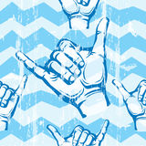 Sampless pattern with Hang Loose Hand Stock Photo