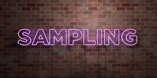 SAMPLING - fluorescent Neon tube Sign on brickwork - Front view - 3D rendered royalty free stock picture Stock Images