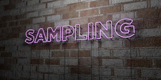 SAMPLING - Glowing Neon Sign on stonework wall - 3D rendered royalty free stock illustration Stock Photo