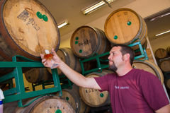 Sampling and Tasting Bourbon Barrel Aged Beers stock photos