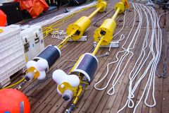 Sampling in the waters of the Antarctic. Sampling devices stock image