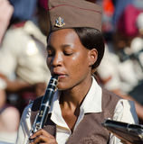 SAMS band clarinetist concentrating Royalty Free Stock Image