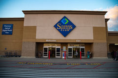 Sams Club Entrance. York, PA - December 30, 2016: Sam`s Club entrance. Sam`s Club is an American chain of membership-only retail warehouse clubs operated and Royalty Free Stock Images