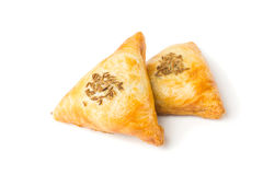 Samsa is baked pastry with meat filling Stock Image