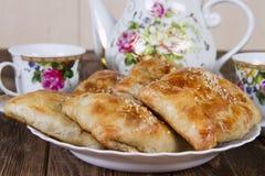 Samsa dell'Uzbeco casalingo Immagini Stock