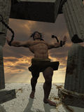 Samson, das hinunter den Tempel holt stockbild