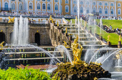 Samson Fountain and Big Cascade in Peterhof, Russia Stock Image