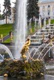 Samson Fountain de la cascade grande dans le palais de Peterhof, Russie Photographie stock libre de droits