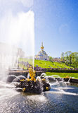 Samson Fountain of the Grand Cascade near Peterhof Palace. Royalty Free Stock Photo