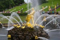 Samson fountain of the Grand Cascade Royalty Free Stock Photo