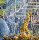 Samson Fountain and the Grand Cascade. Peterhof. Suburb of Saint Royalty Free Stock Photo
