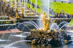 Samson Fountain in Perterhof-Palast, St Petersburg Lizenzfreie Stockfotografie
