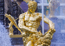 Samson fountain in Peterhof. Elements of Samson fountain in Peterhof royalty free stock image