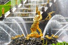 Samson Fountain in Peterhof-Paleis, Rusland stock foto's