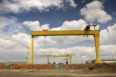 Samson and goliath. Two famous cranes from belfasts titanic quarter Royalty Free Stock Images