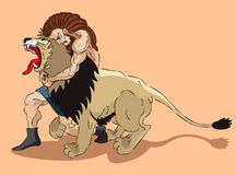 Samson and lion. Samson the judge of Israel struggles with a lion Stock Images