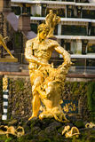 Samson in Peterhof. Famous fountain in Peterhof, Leningrad area royalty free stock images