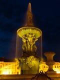 Samson's Fountain in Ceske Budejovice by night Royalty Free Stock Image