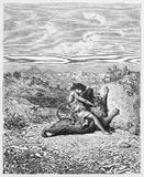 Samson slaying the Lion. Picture from The Holy Scriptures, Old and New Testaments books collection published in 1885, Stuttgart-Germany. Drawings by Gustave Stock Photography