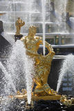 Samson statue in the fountain of Peterhof Stock Photography