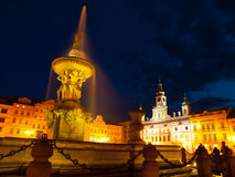 Samson's Fountain in Ceske Budejovice by night Stock Photography