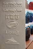 Samsonite, American Tourister, Lipault and High Sierra signs Stock Images