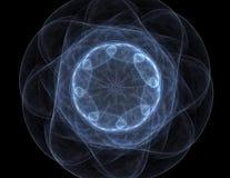 Samspel av den abstrakta fractalen bildar på ämnet av kärn- fysik, vetenskap och den grafiska designen Samspel av den abstrakta f Fotografering för Bildbyråer