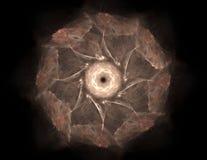 Samspel av den abstrakta fractalen bildar på ämnet av kärn- fysik, vetenskap och den grafiska designen Samspel av den abstrakta f Royaltyfri Bild