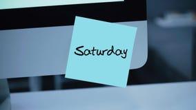 samstag Tage der Woche Die Aufschrift auf dem Aufkleber auf dem Monitor vektor abbildung