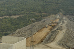 Samsun, Turkey - October 23, 2016:  Dam construction operation near Samsun city, Turkey Stock Photo