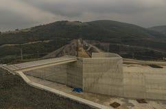 Samsun, Turkey - October 23, 2016:  Dam construction operation near Samsun city, Turkey Royalty Free Stock Images