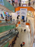 Samsung Advertisement. A Large Samsung hanging advertisement showing launch of new phone and VR headset. Hangs between all floors of a large megastore shopping Stock Photos