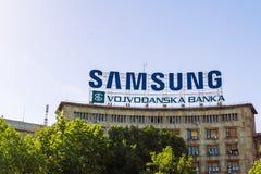 Samsung assina na construção foto de stock